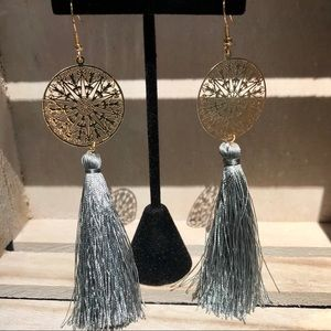 Jewelry - Gold fashion earrings with long gray tassels